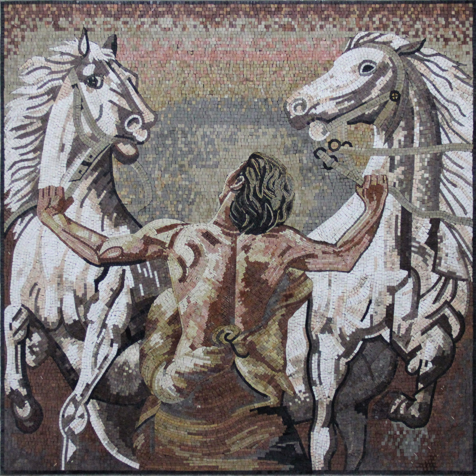 Man Dragging Two Weiß Horses Home Decoration Art Marble Mosaic FG328