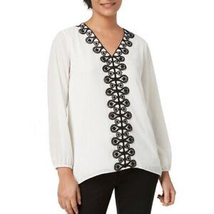 ALFANI-NEW-Women-039-s-Long-Sleeve-Lace-Trim-V-Neck-Blouse-Shirt-Top-TEDO