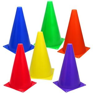 6-Assorted-Color-9-034-Cones-Train-Training-Soccer-Football-Agility-Traffic-Marker