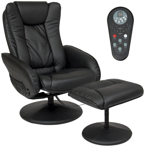 Best Choice Products Leather Massage Recliner and Ottoman Set - Black for sale online | eBay