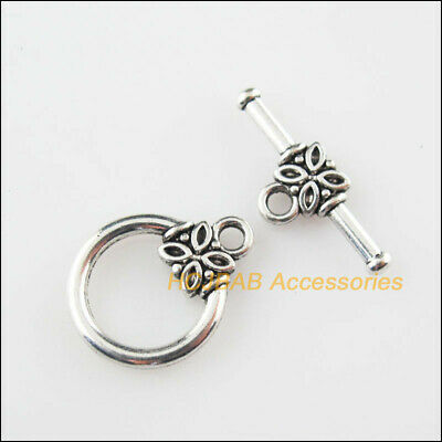 10sets Tibetan Silver Round Ring Toggle Clasps Connector Charm Jewelry Findings