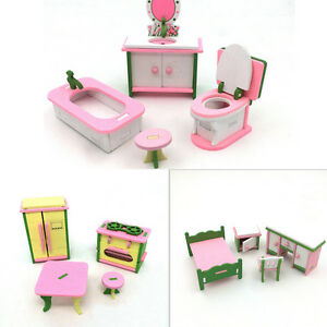 Doll-House-Miniature-Bedroom-Wooden-Furniture-Sets-Kids-Role-Pretend-Play-TJ-pb
