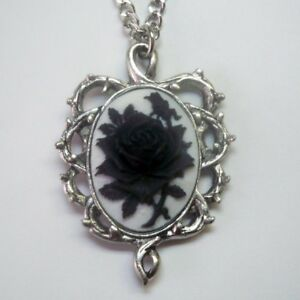 073eb646ac7 Image is loading Real-Metal-Jewelry-Black-amp-White-Rose-Cameo-