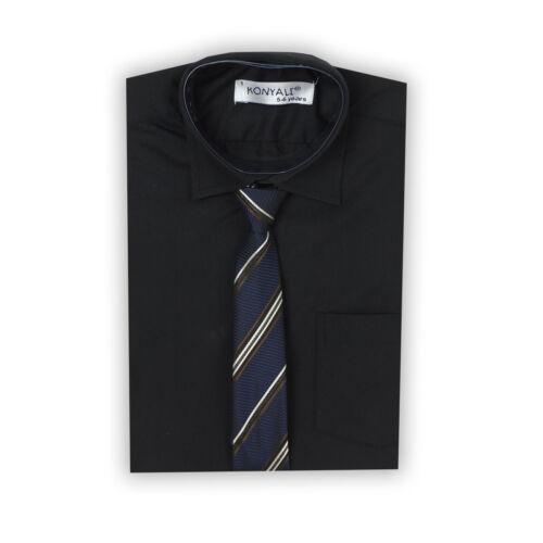 Boys Black Formal Shirt Tie Set Pageboy Wedding Prom Party Kids Shirts