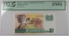 (1976) Singapore 5 Dollars Note SCWPM# 10 PCGS 67 PPQ Superb Gem New