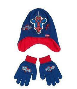 Ninos-Ninas-Ninos-Oficial-Spiderman-Oscuro-Azul-Marino-Invierno-Sombrero-amp-Guantes-Set