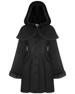 Punk-Rave-Pyon-Womens-Gothic-Lolita-Coat-Jacket-Black-Hooded-Faux-Fur-Victorian
