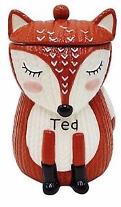 Brand New Fox Knit Effect Tea Canister Jar Gift Present