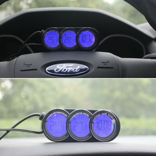 Car In//Outdoor Thermometer /& Clock Digital LCD Display Orange//Blue LED Backlight