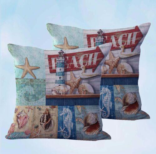 US Seller-set of 2 pillows cushions seahorse shell sailor beach cushion cover