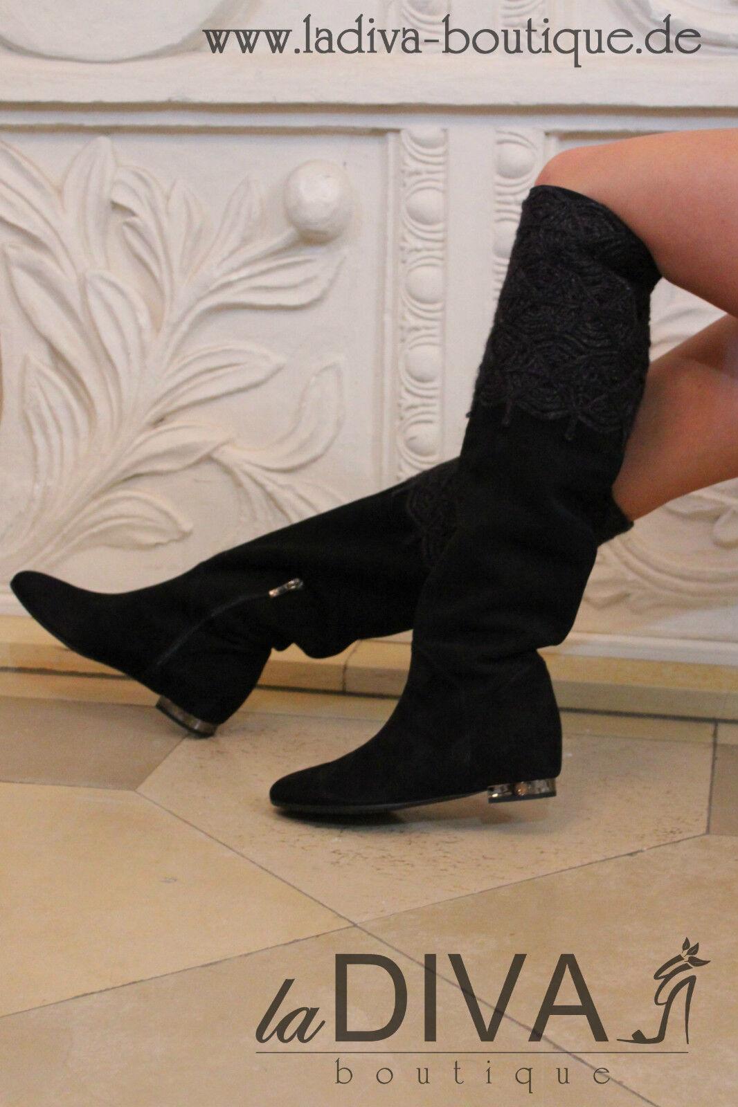 Gerardina di maggio ~ Italy lujo botas de cuero negro 38% sale% OVP