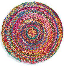 Hecho A Mano Redonda Chindi trenzado de alfombra colorido salón dormitorio Mat de comercio justo 90 Cm