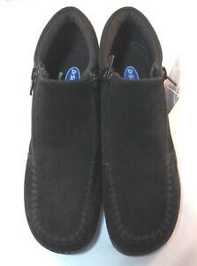 Dr-Scholls-DAWN-BLACK-Leather-Suede-Shoes-Double-Zipper-Slip-On-Size-7-New