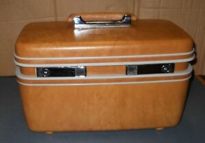 Vintage-SAMSONITE-TAN-BROWN-BEAUTY-MAKEUP-TRAVEL-CASE-W-MIRROR-TRAY