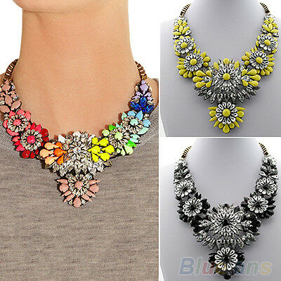 Women's Fashion Boho Chic Rhinestone Flower Statement Bib Collar Necklace