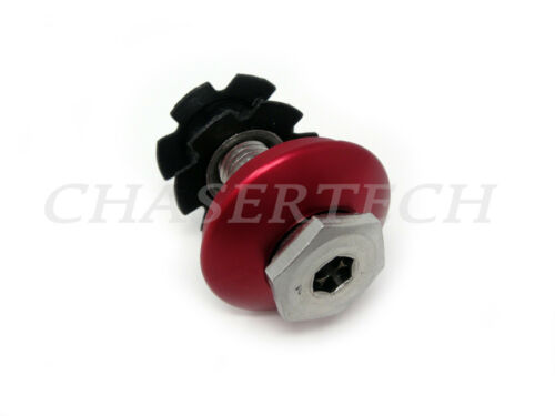 """New BMX Bicycle Bike Alloy Ahead Stem Cap 1-1//8/"""" Hollow Bolt Red"""