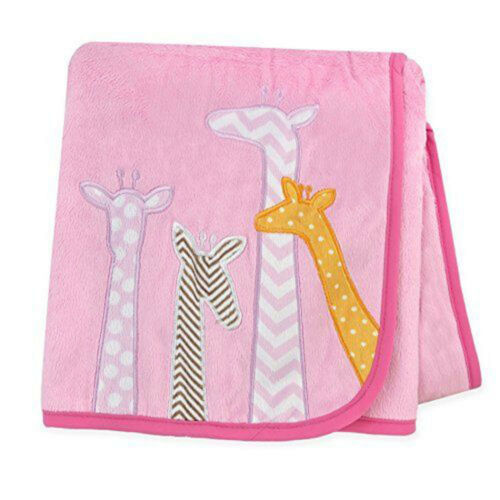 "Carter/'s Baby Cozy Soft Giraffes Plush Valboa Throw Blanket 40/"" x 30/"" Girls Pink"