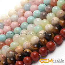 """Wholesale Lot Natural Gemstone Round Spacer Loose Beads 15"""" 6mm 8mm 10mm 12mm"""