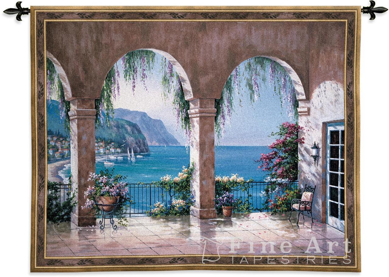 Mediterranean Arches Flower Sea View Seaside Tapestry