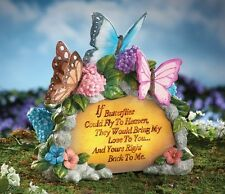 "Solar Powered Lighted Floral Butterfly ""Loved Ones Lost"" Memorial Garden Stone"