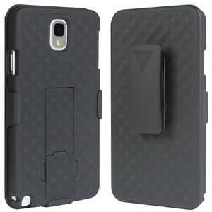For-SAMSUNG-GALAXY-NOTE-3-BLACK-SHELL-COMBO-CASE-COVER-BELT-HOLSTER-KICKSTAND