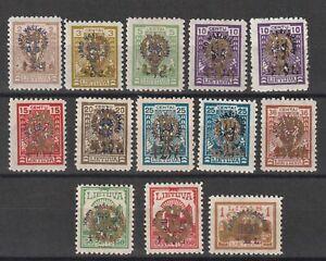 Lithuania / Litauen 1926 Mi # 257/267 including X + Y types vf MNH