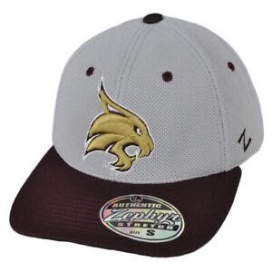 NCAA-Zephyr-Texas-State-Bobcats-Flex-Fit-Medium-Large-Hat-Cap-Gray-Curved-Bill