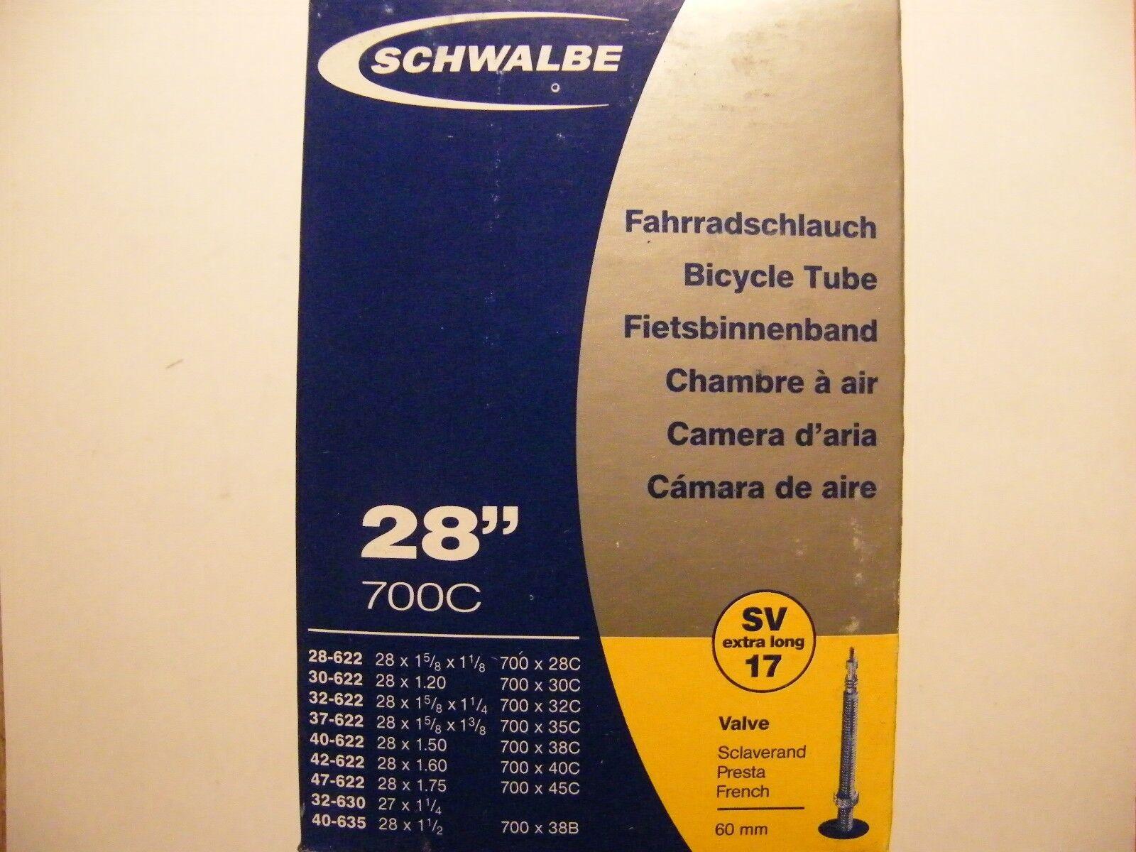 Black 28 Inch by Schwalbe Schwalbe SV17 Presta Extra Long Valve 700C Inner Tube