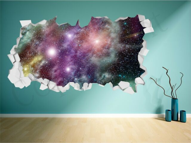 Space Brick Crumbled Wall Fantasy Star Galaxy 3D Wall Art Sticker Decal Transfer