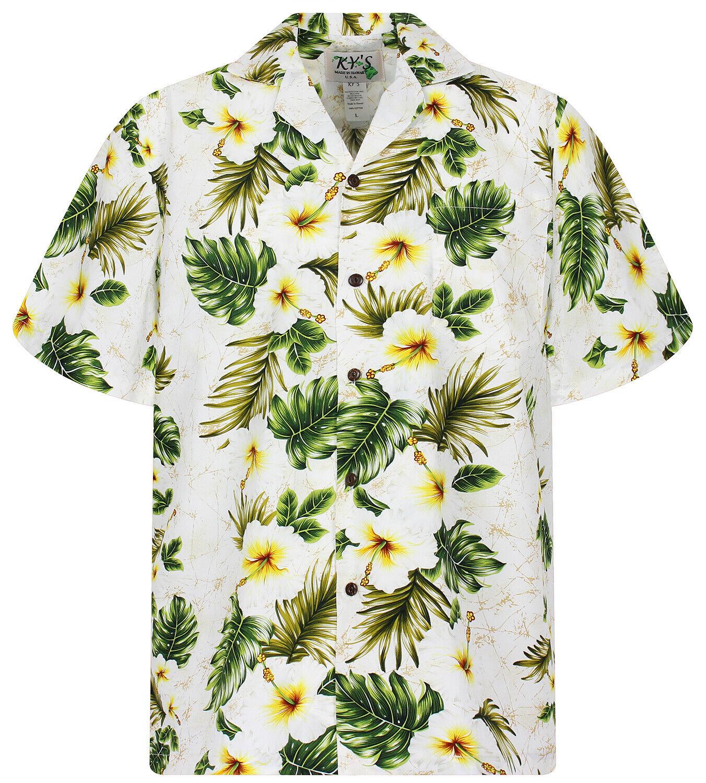 KY's Original Hawaiihemd 3 Farben greene Girlande white