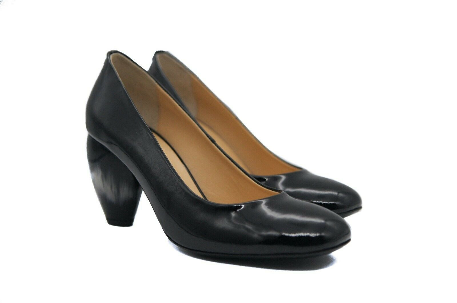 Goody2shoes Ladies Black Patent Court shoes with Unique Tulip Ball Heel UK Design