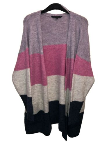 Kurvy Purple and Pink Striped Cardigan Size 16-24