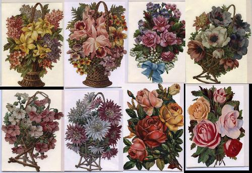 # GLANZBILDER # EF Aufstellkarten mot schönen alten Blumen verschiedene Motive