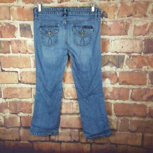 Calvin-Klein-Womens-Jeans-Lean-Boot-Cut-Size-14-Distressed-29-Inseam