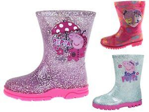 Girls-Peppa-Pig-Wellington-Boots-Mid-Calf-Gitter-Snow-Rain-Wellies-Kids-Size