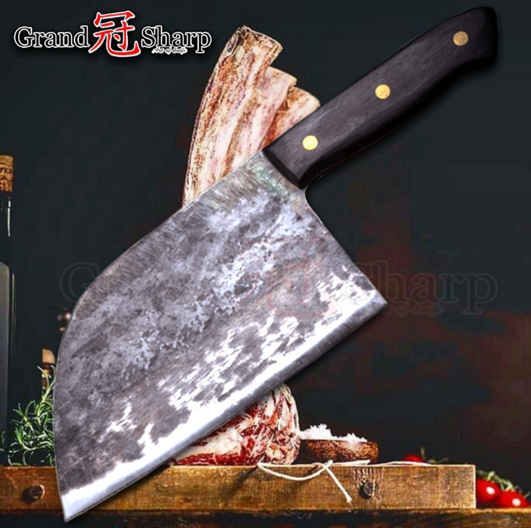 Handmade Butcher Knife Forged Steel Kitchen Meat Slicing Chop Cut Wood Handle XL