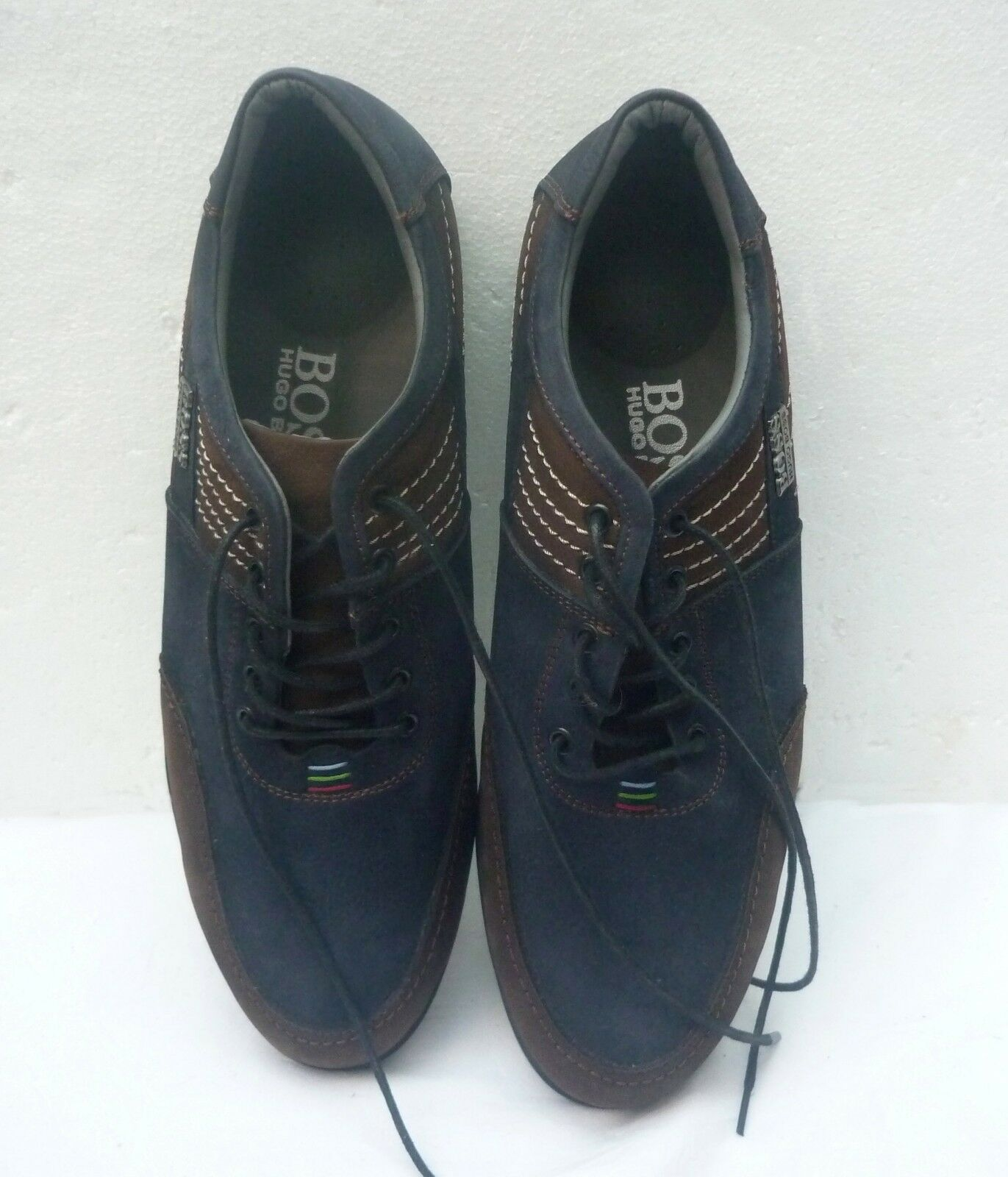 HUGO BOSS casual LEATHER SHOES - DARK blueE   BROWN - UK size 10