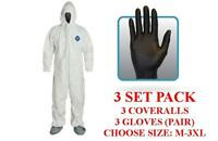 Dupont Ty122s Tyvek Coverall, Hood,boots,protective Gloves - 3 Set Pack - Md-3xl