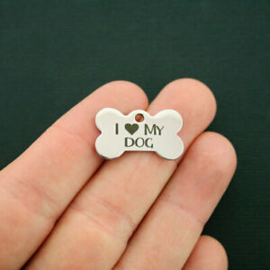 I Love my Mutt Dog Charm Polished Stainless Steel Quantity Options BFS171