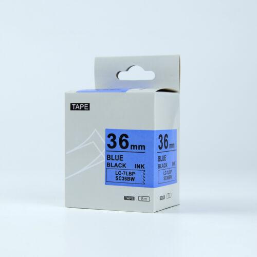 Compatible EPSON36mm LC-7LBP Standard LC Label Tape Black on Blue 36mm 8m