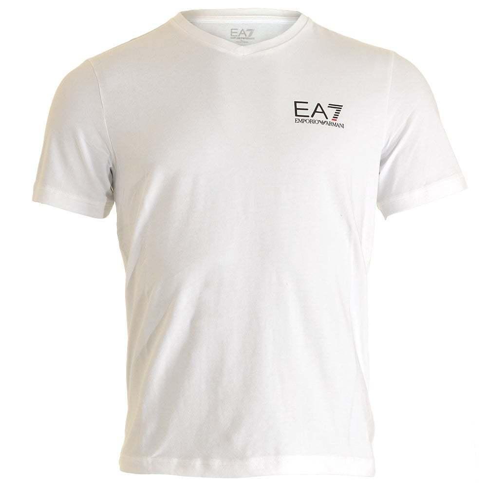 EA7 EMPORIO ARMANI da Uomo del Treno CORE LOGO ID V Collo T-shirt, Bianco Stretch Tee VEE