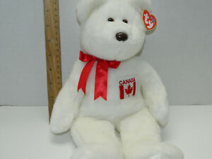 fea63392fae TY Beanie baby Buddy Maple Canada L Teddy Bear White 14