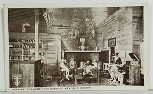 Knights-of-Columbus-Interior-Room-Phonograph-Trophies-K-of-C-WW1-Postcard-O2