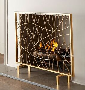 Golden twig fireplace fire screen panel modern contemporary vines 40 w ebay - Find best contemporary fireplace screen ...