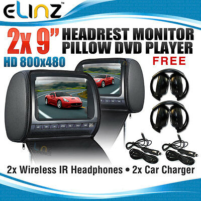 "Headrest 2 X 9"" HD Car Monitor Pillow 2 DVD Player GAME 800x480 FREE 2XHEAPHONES"