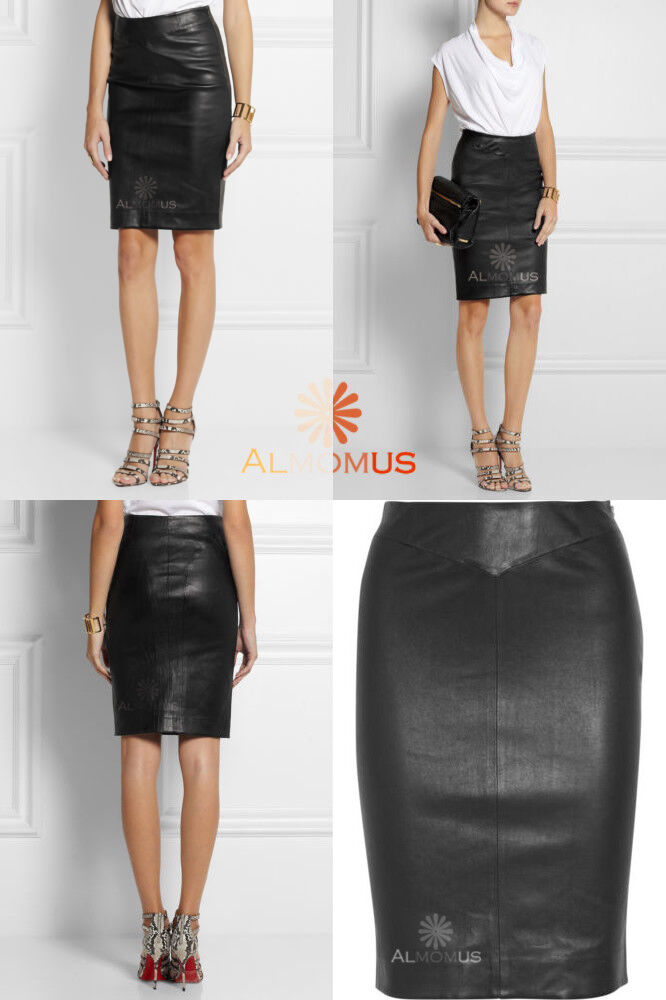 Attractive Genuine Lambskin Leather Pencil Skirt High Waist Paneled Above Knee W