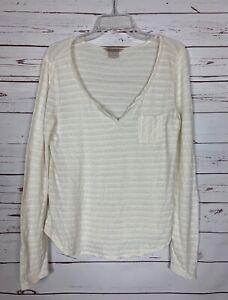 Lucky-Brand-Women-039-s-M-Medium-Ivory-Striped-Long-Sleeve-Cotton-Linen-Shirt-Top