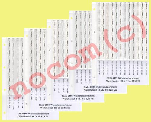 10R-825K 1/%  3000STK 0805 SMD Widerstandssortiment E12 Reihe 60 Werte