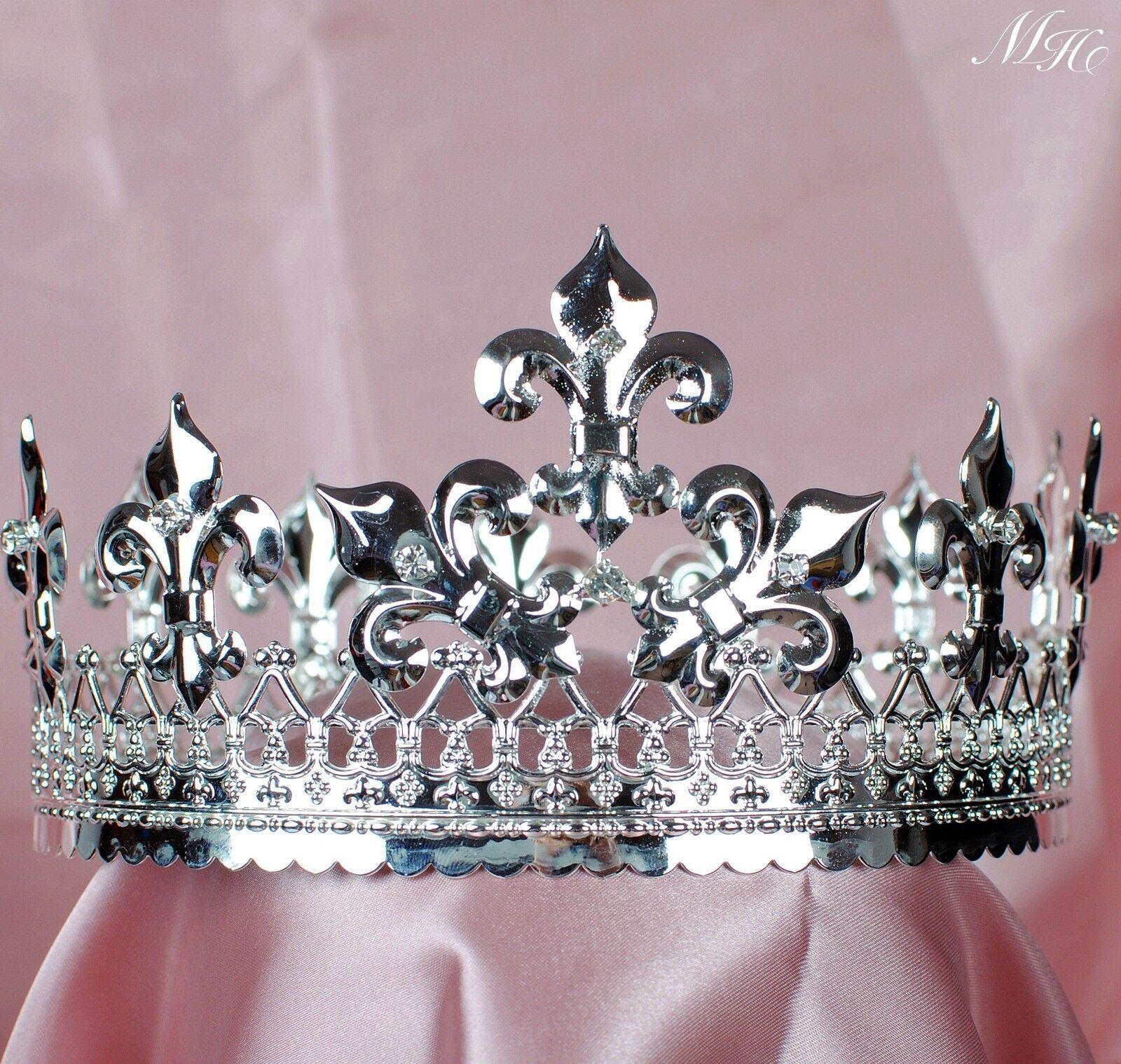 Men Imperial Crown Full Round Tiara Rhinestone Renaissance Pageant Party Costume
