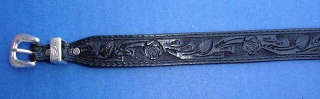 Western Equestrian Cowboy/Cowgirl Top Grain Tooled Black Leather HAT BAND 3/4